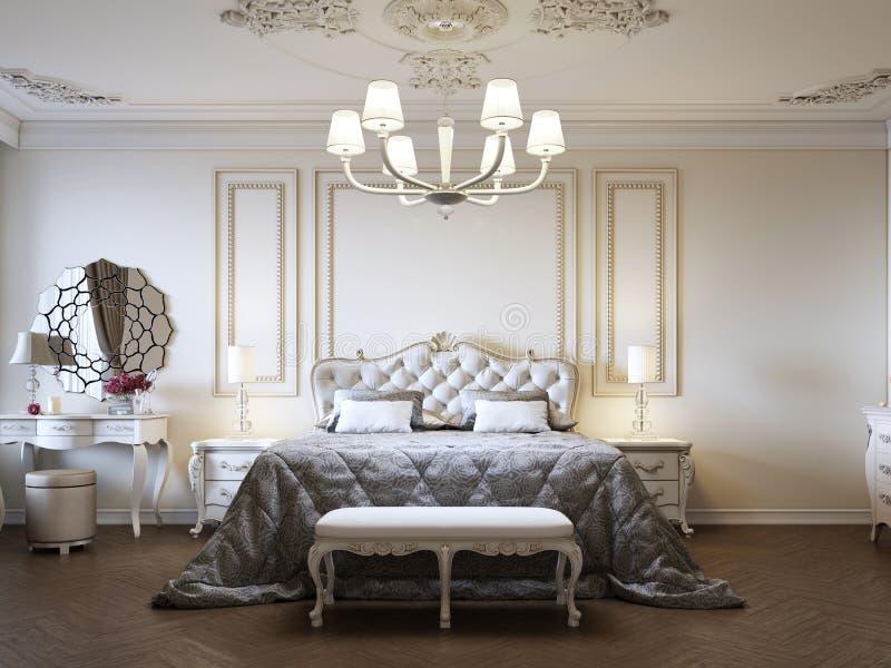 Quarto luxuoso do estilo clássico interior em cores bege com boudoir e janela ilustração royalty free