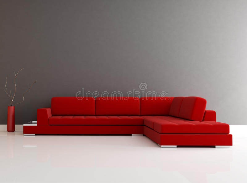 Quarto minimalista preto e vermelho do livin ilustração royalty free