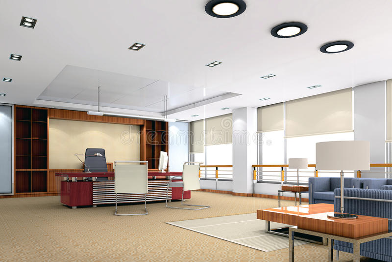 quarto moderno do escritório 3d ilustração royalty free