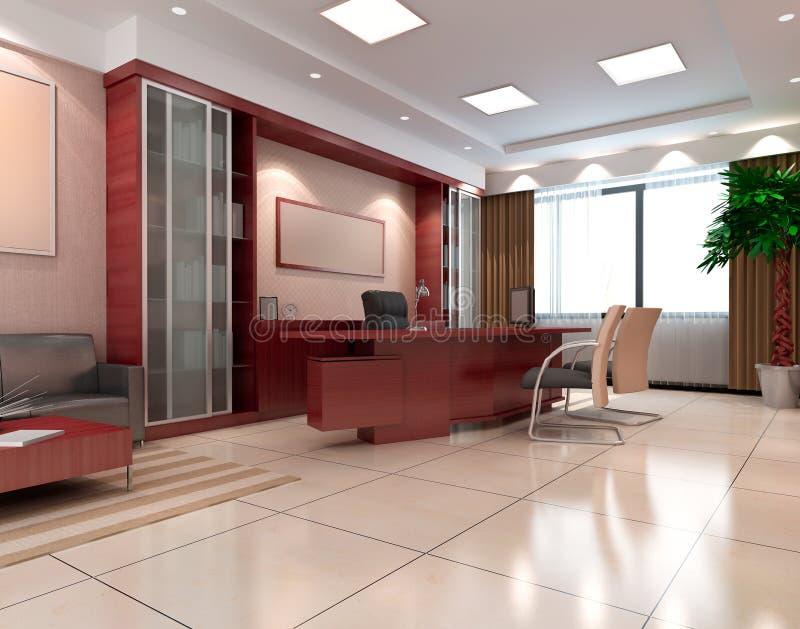 quarto moderno do escritório 3d ilustração stock