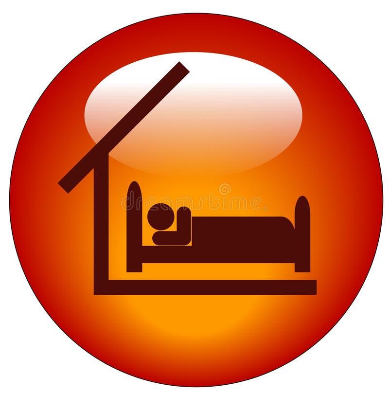 Quarto no ícone do hotel ou do motel ilustração do vetor