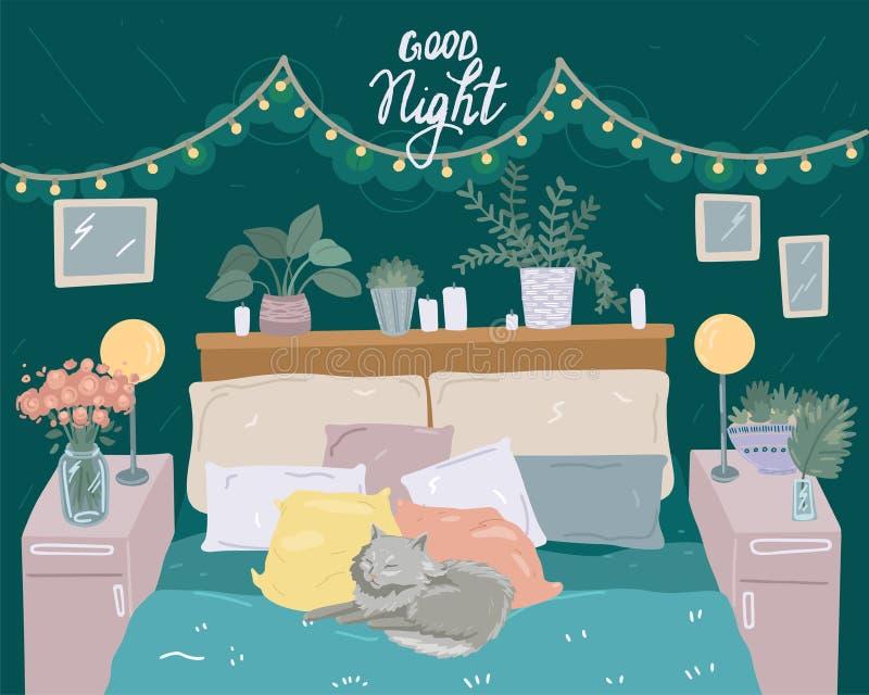 Quarto no estilo escandinavo Gato na cama Decoração de lanternas e plantas domésticas Ilustração do vetor fofo ilustração do vetor