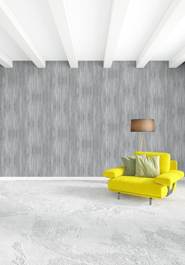 Quarto ou sala de visitas amarela no design de interiores moderno do estilo com parede da exsudação e mobília à moda rendição 3d ilustração do vetor