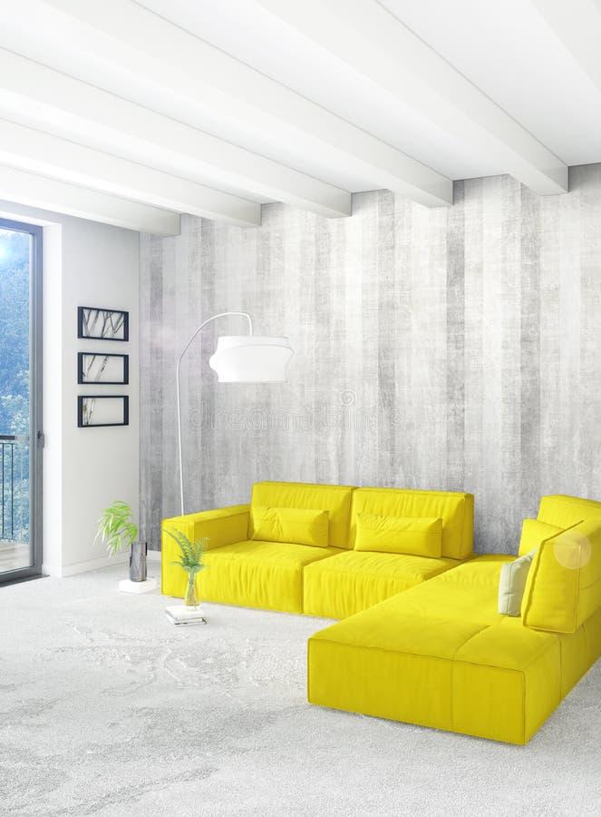 Quarto ou sala de visitas amarela no design de interiores moderno do estilo com parede da exsudação e mobília à moda rendição 3d ilustração royalty free