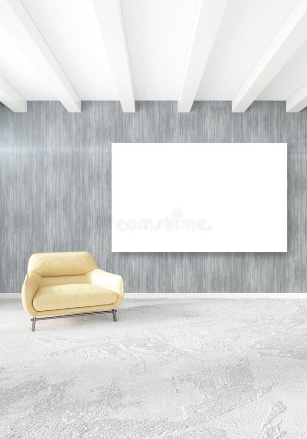 Quarto ou sala de visitas interior moderna vertical com parede eclético e quadro vazio para o desenho do copyspace rendição 3d ilustração royalty free