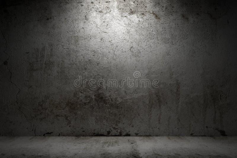 Quarto vazio com muro de cimento do grunge imagem de stock