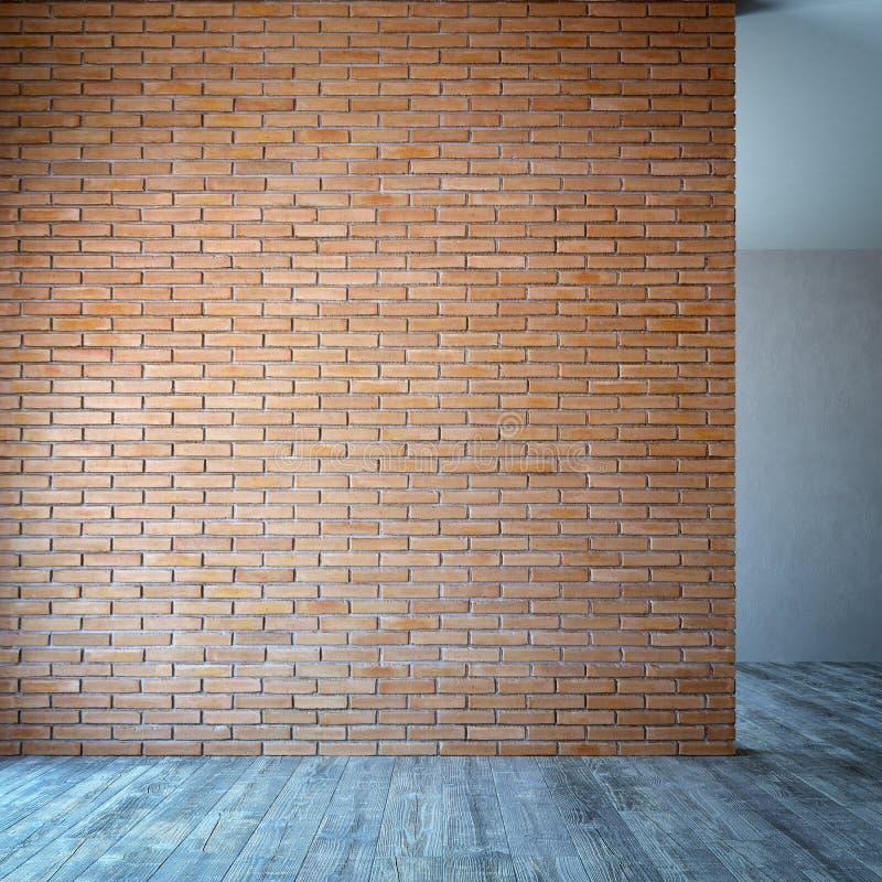 Quarto vazio com parede de tijolo foto de stock royalty free