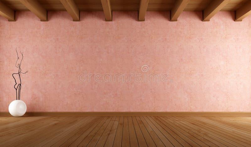 Quarto vazio com parede do estuque ilustração stock