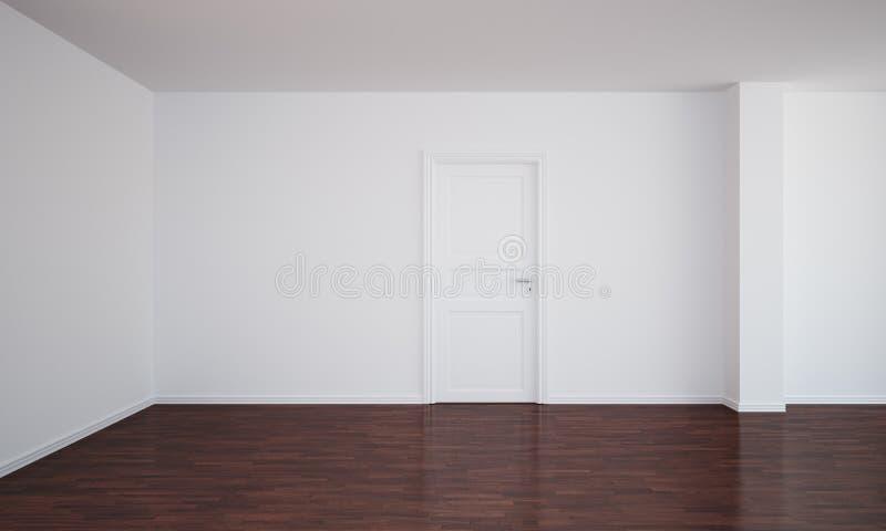Quarto vazio com uma porta fechada e um assoalho escuro ilustração stock