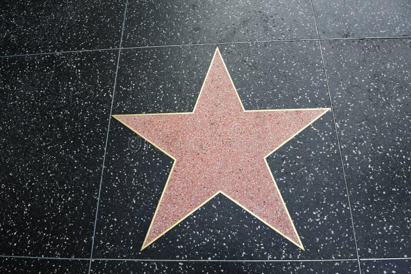 Quarto vazio em branco da forma da estrela de Hollywood para o texto fotografia de stock
