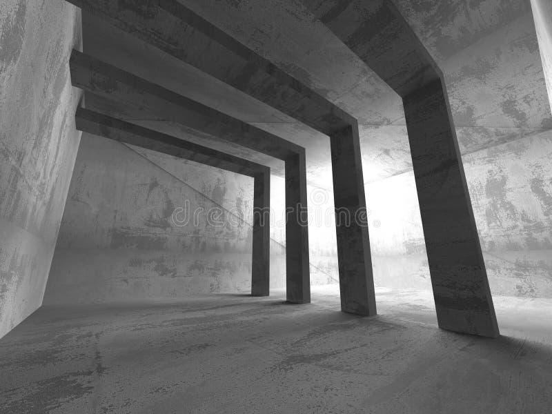 Quarto vazio escuro Paredes oxidadas concretas Backg do grunge da arquitetura ilustração do vetor