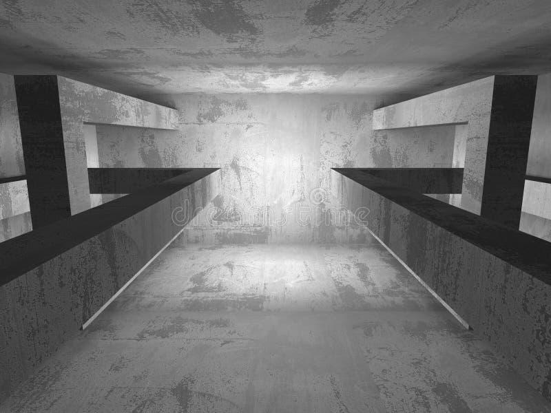 Quarto vazio escuro Paredes oxidadas concretas Backg do grunge da arquitetura ilustração stock