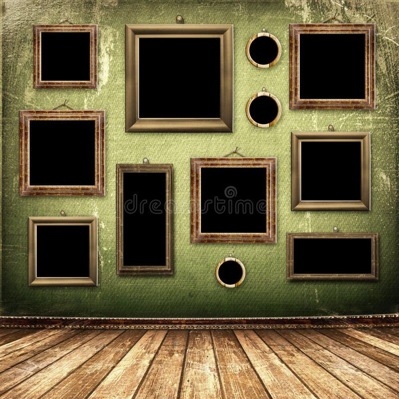 Quarto velho, interior industrial do grunge ilustração do vetor