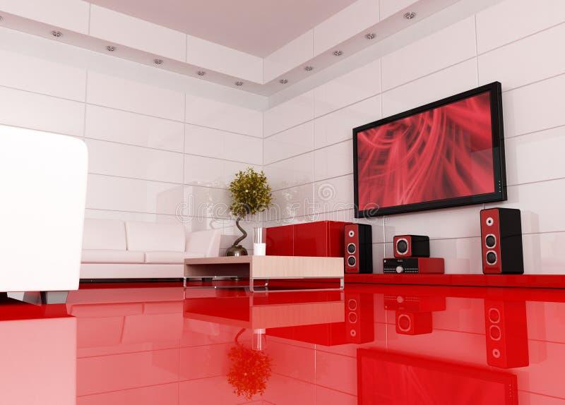 Quarto vermelho e branco do cinema ilustração do vetor