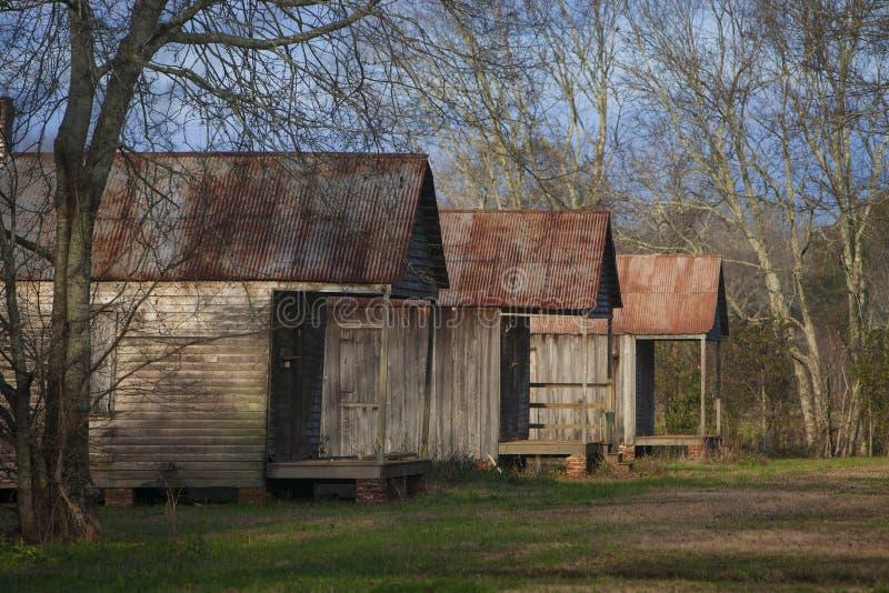 Quartos de escravos na plantação de açúcar do Vale de Laurel imagens de stock royalty free