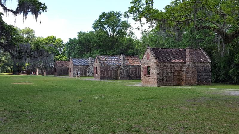 Quartos do escravo em Boone Hall Plantation fotografia de stock royalty free