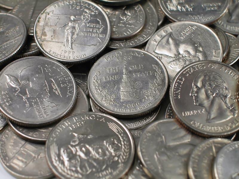 Quarts de Pièces de monnaie-La plupart du temps photo stock