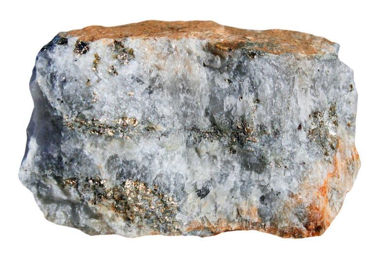 Quartz avec des sulfures sur un fond blanc photo stock