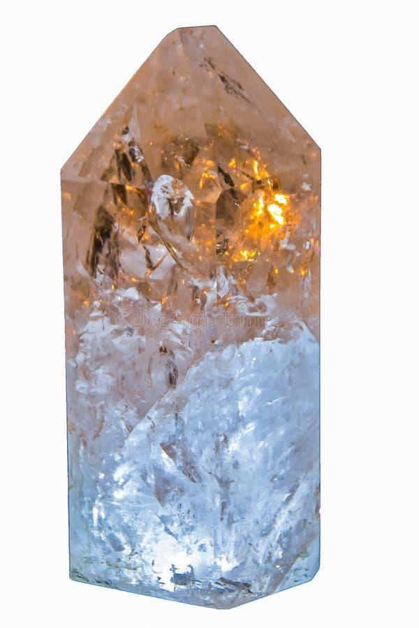 Healing Quartz crystal stone closeup. Quartz crystal for healing closeup isolated stock images