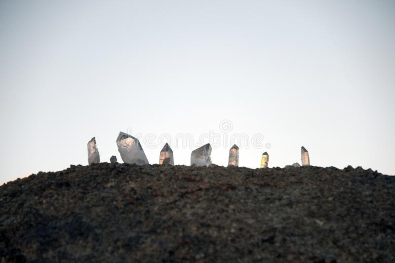 Desert Light Crystal And Granite Stone stock images