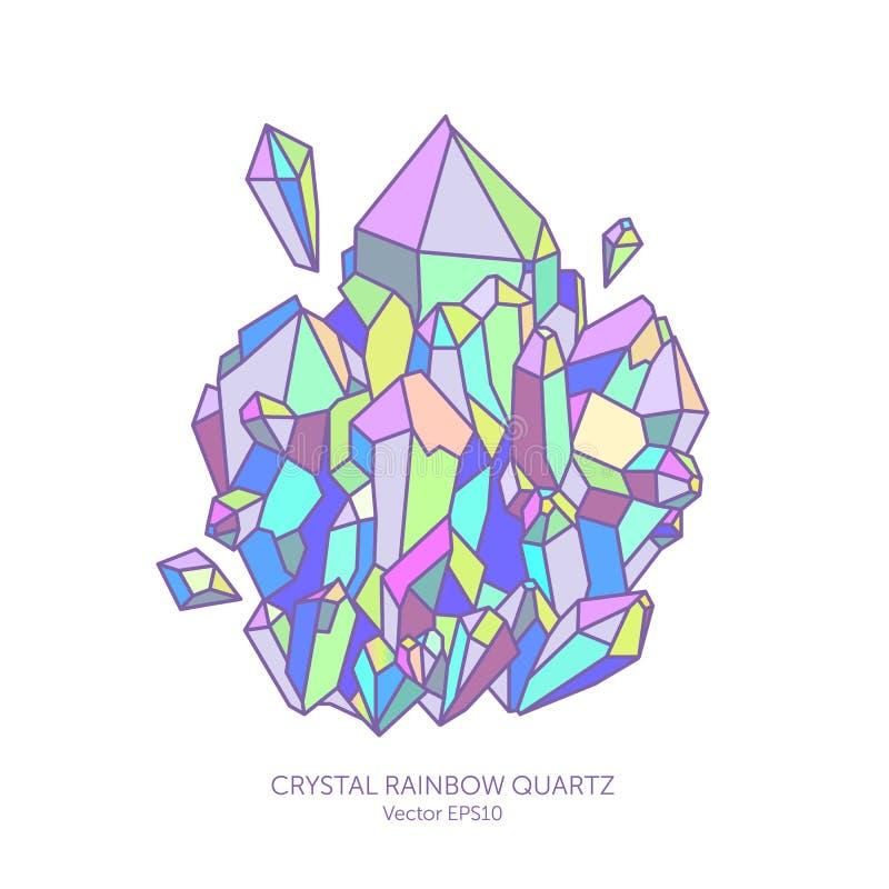 Quartz en cristal d'arc-en-ciel en couleurs en pastel, rose, pourpre, indigo et turquoise illustration libre de droits