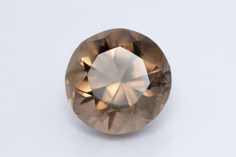 Quartz fumeux, pierre gemme ronde photographie stock