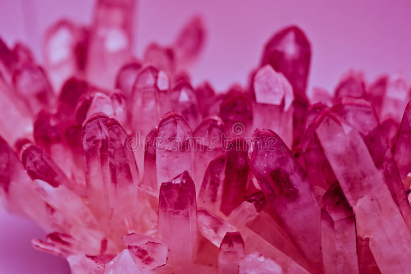 Quarz crystals. Illuminated with monocromatic light stock photo
