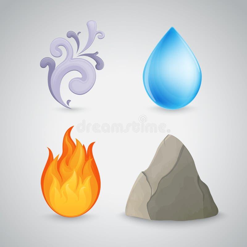 Quatre élément - la terre, air, le feu et l'eau illustration libre de droits