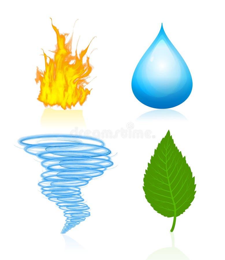 Quatre éléments de nature illustration libre de droits