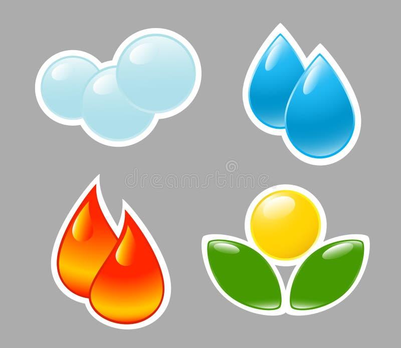 Quatre éléments. Incendie, l'eau, air, prise de masse. illustration stock