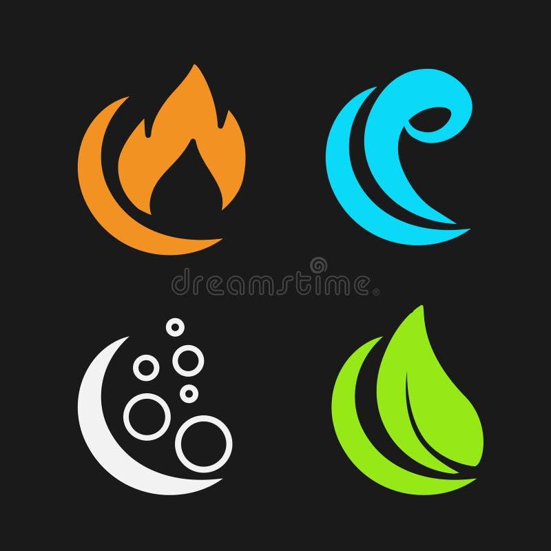 Quatre éléments naturels - le feu, air, l'eau, la terre - symboles de nature avec la flamme, l'air de bulle, l'eau de vague et la illustration stock