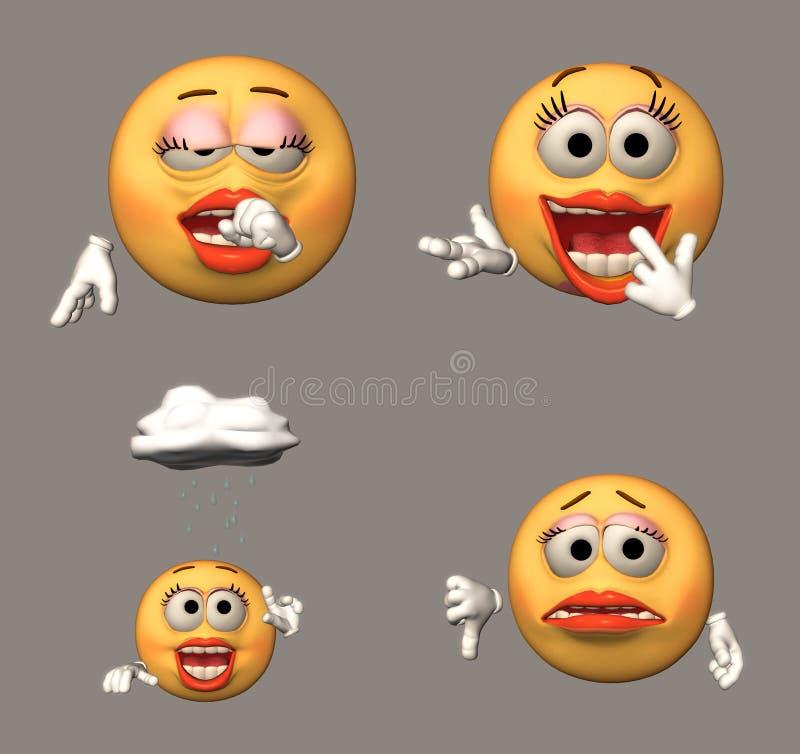 Quatre émoticônes illustration de vecteur