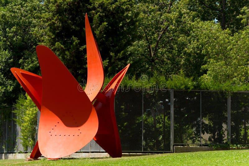 Quatre öl - Alexander Calder - Barcelona arkivbild