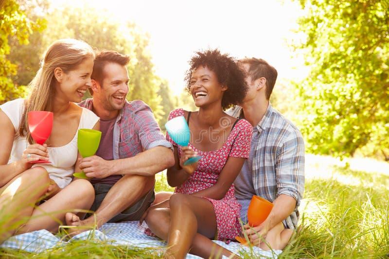 Quatre amis détendent ensemble le boire dans la campagne photos libres de droits