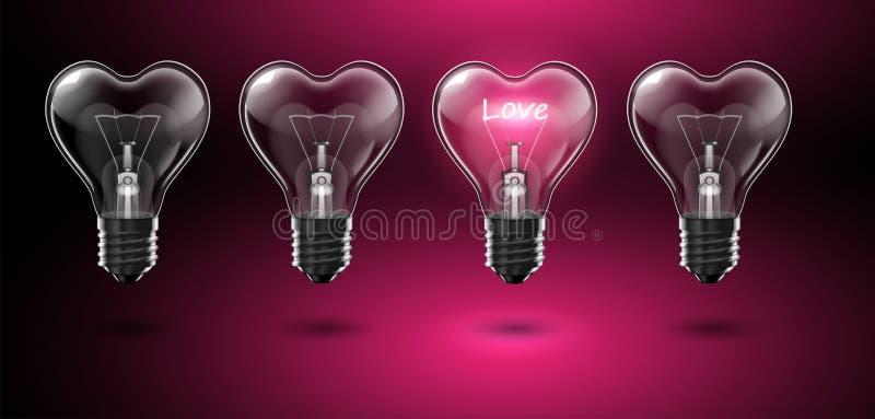 Quatre ampoules en forme de coeur transparentes, dans l'un d'entre eux l'amour de mot rougeoie au lieu d'un filament de tungstène illustration stock