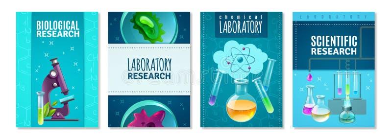 Quatre bannières d'isolement par Science illustration de vecteur