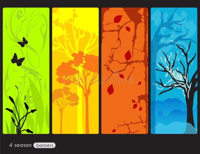 Quatre bannières de saisons illustration libre de droits