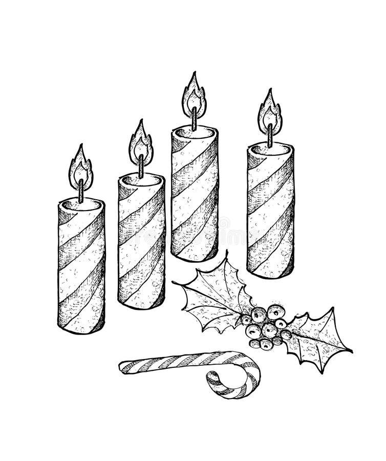 Quatre bougies de Noël avec la canne de Holly Twigs et de sucrerie illustration libre de droits