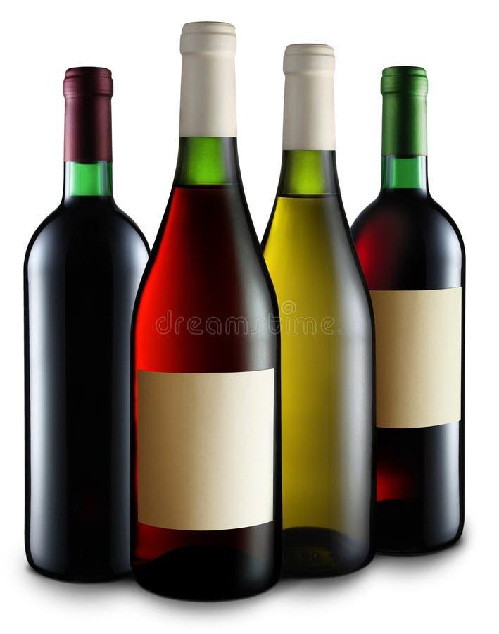 Quatre bouteilles de vin images libres de droits