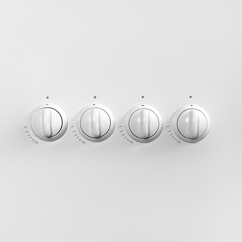 Quatre boutons de commande de cuisinière à gaz Concept minimal image stock