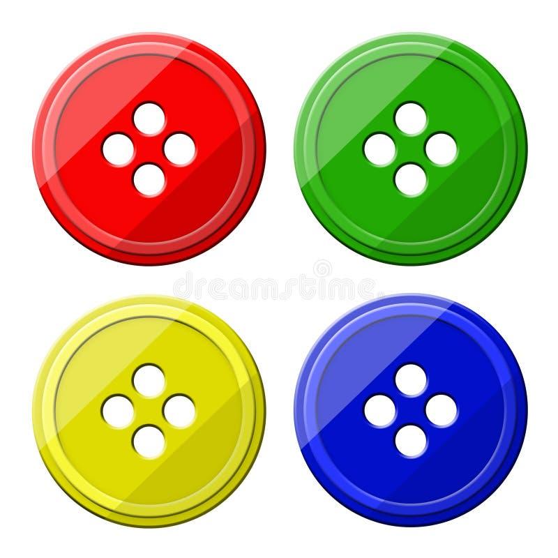 Quatre boutons pour des vêtements sur un fond blanc image stock