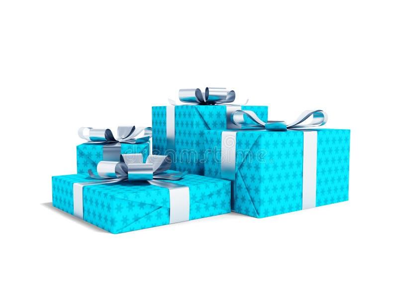 Quatre cadeaux bleus modernes attachés sur l'arc 3d pour rendre sur le fond blanc avec l'ombre illustration de vecteur