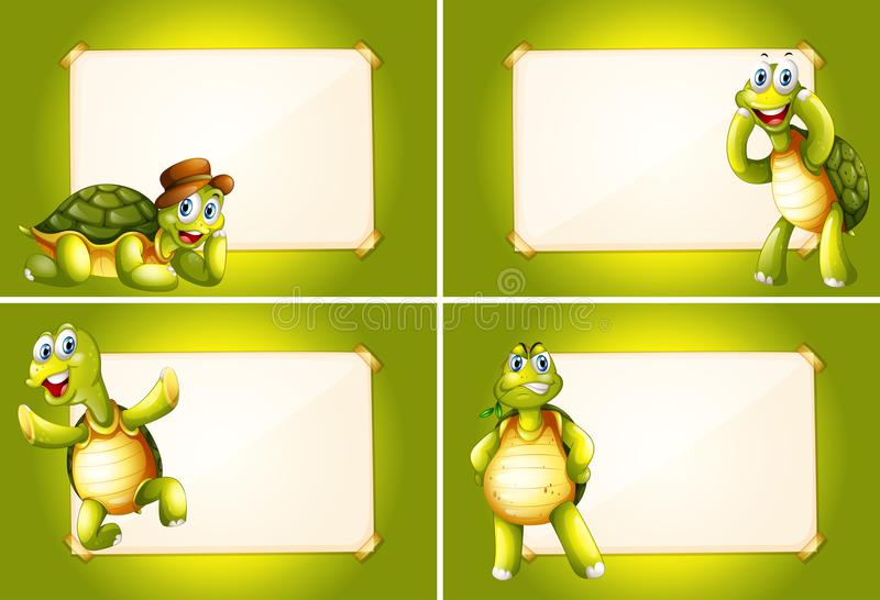 Quatre cadres avec les tortues vertes illustration de vecteur