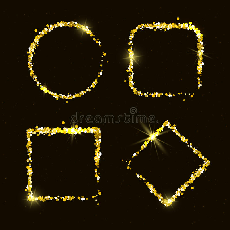 Quatre cadres d'or brillants de scintillement illustration stock