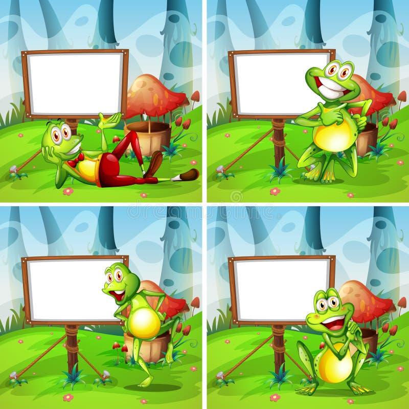 Quatre cadres de grenouille en parc illustration de vecteur
