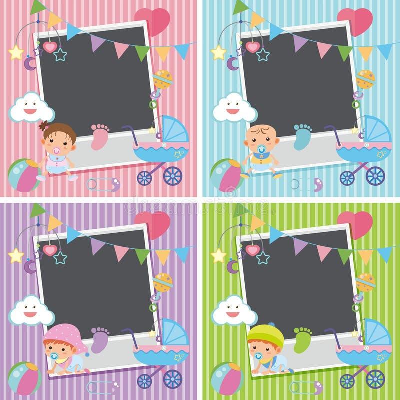 Quatre cadres de photo avec des articles de bébé illustration de vecteur