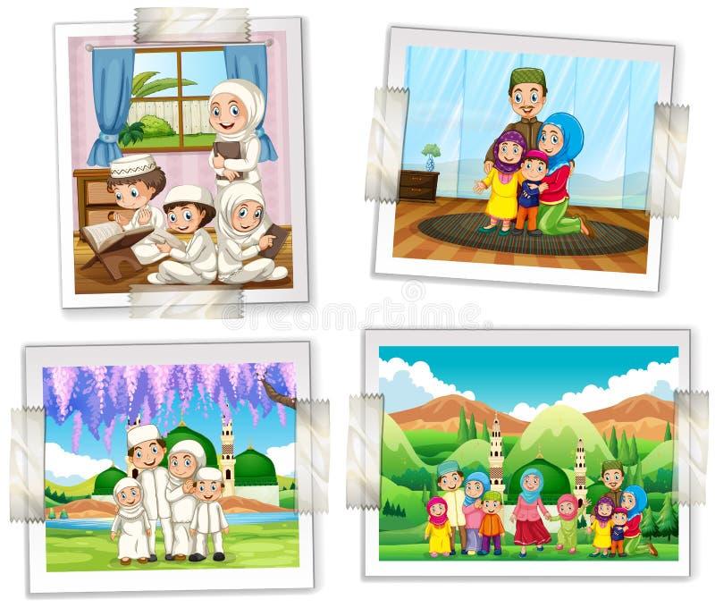 Quatre cadres de photo de famille musulmane illustration stock