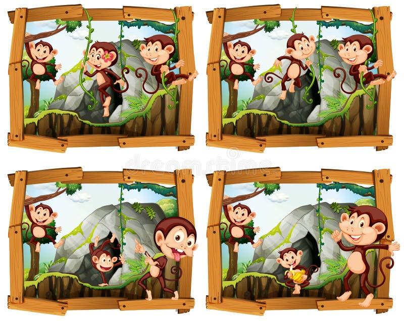 Quatre cadres des singes par la caverne illustration stock