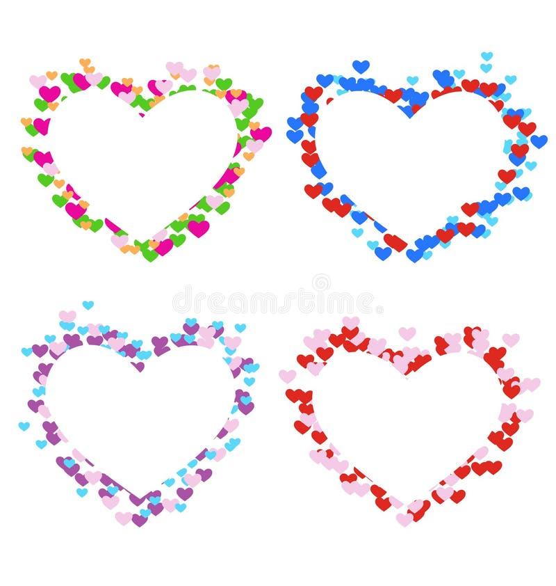 Quatre cadres multicolores avec des coeurs d'isolement sur le blanc illustration libre de droits