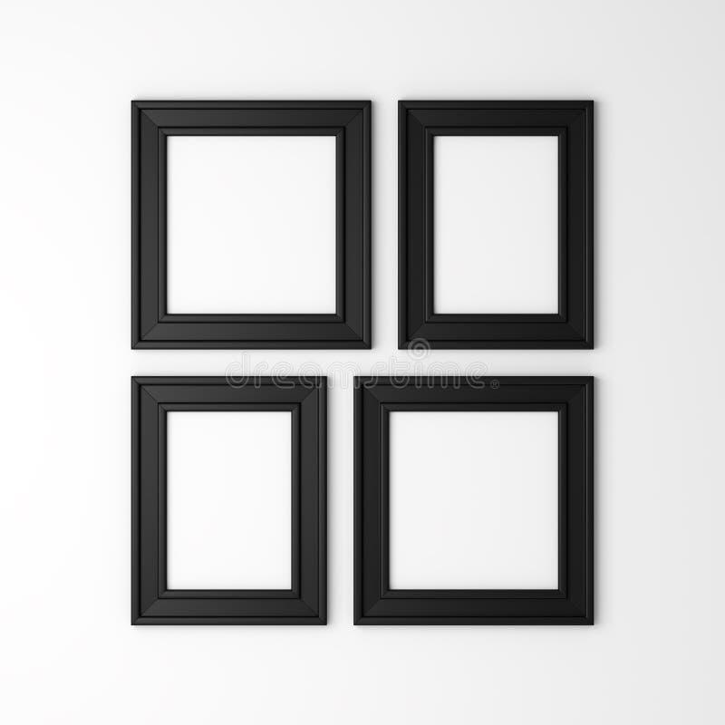 Quatre cadres noirs en blanc de photo sur le mur illustration libre de droits